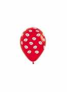 All over Lips Printed Red Balloons One Piece