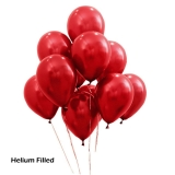 50 Helium Metallic Red Latex Balloons