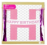 Say It With Glitter Happy Birthday Banner Pink