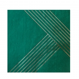 Manhattan Dark Green Stripped Lunch Napkins