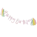 Iridescent Happy Birthday Banting With Tassels