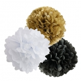 Black,Gold and White Pompom Set