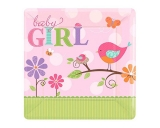 Baby Girl Square Paper Plates