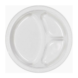 Frosty White Divided Plastic Plates