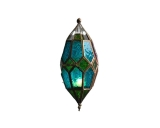 Moroccan Hanging Glass Lantern Blue/Green Color Small Size