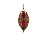 Moroccan Hanging Glass Lantern Pink/Purple Color Large Size
