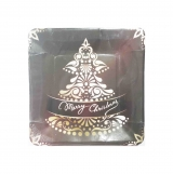 Christmas Tree Designer Dessert Plates in Brown Color