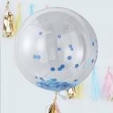 Blue Confetti Orb Balloons