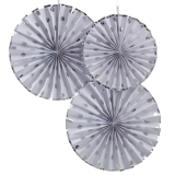 Pick and Mix Polka Dot Silver Fan Decorations