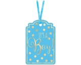 Baby Shower Blue Foil Stamped Tags
