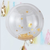 Large Gold Confetti Orb Balloons
