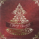 Christmas Tree Designer Lunch Napkins in Brown Color
