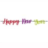 New Year Jewel Tone Ribbon Glitter Banner