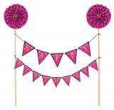 Happy Birthday Pink Banner Cake Picks