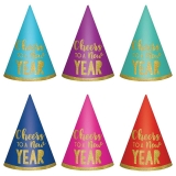 New Year Paper Cone Hats 6 Pcs