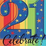 A Year To Celebrate Happy Birthday -21 Beverage Napkins