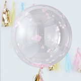 Large Pink Confetti Orb Balloons