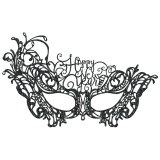 Happy New Year Lace Mask-Black