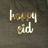 Happy Eid Black Napkin