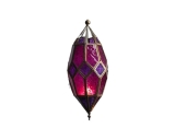 Moroccan Hanging Glass Lantern Pink / Purple Color Small Size