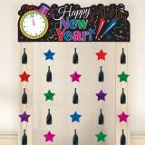 Happy New Year Doorway Curtain Jewel Tone