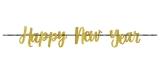 New Year Ribbon Gold Glitter Banner