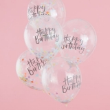 Pastel Party Happy Birthday Confetti Balloons