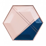 Erika - Pale Pink and Navy Colorblock Large Paper Plates