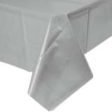 Shimmering Silver Plastic Table Cover