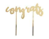 Congrats Gold Mirrored Cake Topper