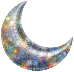 Holographic Crescent Shape Balloon Silver Medium Size
