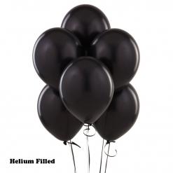 100 Helium Filled Latex Balloons Black